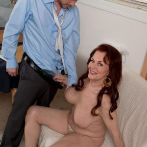 Redhead grandmother Katherine Merlot whipping out immense saggy experienced boobs before BJ