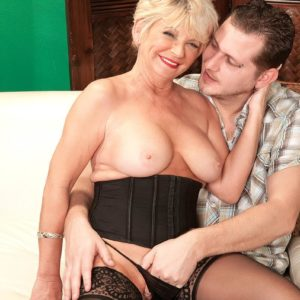 Round aged first-timer DeAnna Bentley uncovering giant boobs in pantyhose before ORAL PLEASURE