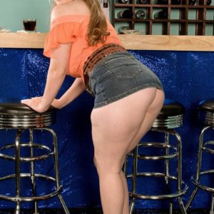 Solo female Jessica Taylor releases her huge boobs at the bar with hair up in pigtails