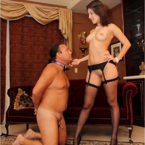 Brunette wife Missy Daniels puts a collar on her male submissive and stomps him