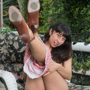 Dark-haired solo girl Vivi Marie showing off fur covered pits and spread pussy outdoors