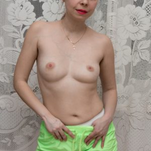 European solo girl with puny fun bags gliding panties aside to uncover furry fuckbox