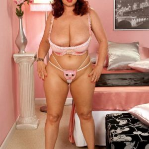 Ginger-haired fatty Virgin Brady struts in her boulder-holder and panty ensemble and pinkish high heels