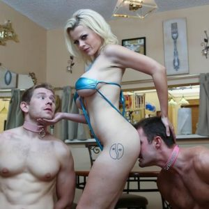 Golden-haired chick Nadia Milky dominates two sissy boys that idolization her bare feet