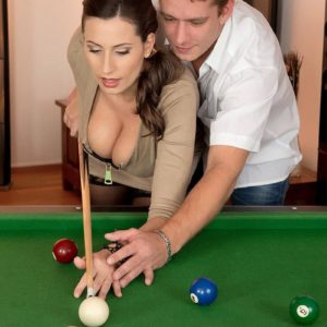 Seductive MILF Sensuous Jane hooter smashes a guy after shooting pool in black hose