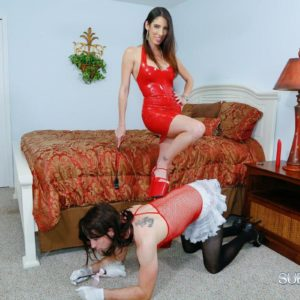 Skinny girlfriend Dava Foxx has her crossdressing sissy worship her feet in a crimson dress