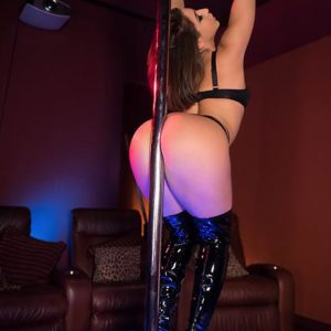 Super-sexy chick Abella Danger polishes her humungous ass against stripper pillar before sex for money