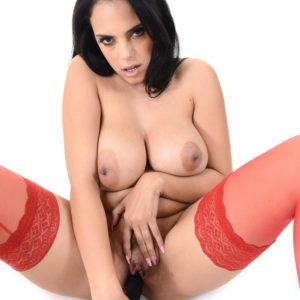 Uruguay solo model Katrina Moreno uncovers her gigantic tits and coochie in red tights