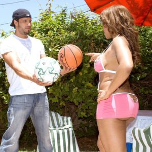 Black girl Ayana Angel flaunts her gigantic bootie in a short skirt while dripping a basketball