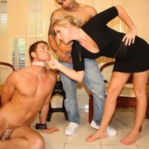 Blonde girlfriend Ashley Edmunds has her slave husband blow another man's knob before she pummels him