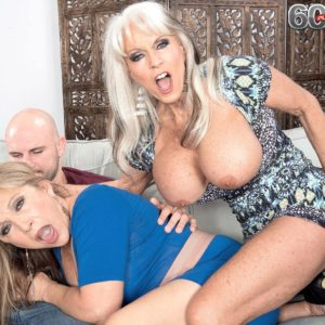 Sixty plus MILFS Sally D'Angelo and Luna Azul give a dual hand-job and blowjobs