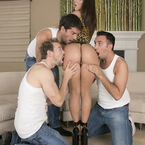 Top pornographic star Jada Stevens offers up her succulent butt for anal sex to 3 men at once