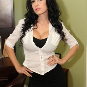 Wonderful dark haired female Emmanuelle London gets rid of her skirt to expose her smoothly-shaven gash