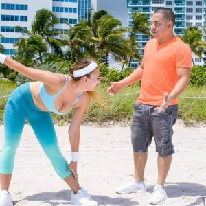 Huge-chested nubile chick Ivy Rose gets poked by her individual trainer after a workout on beach