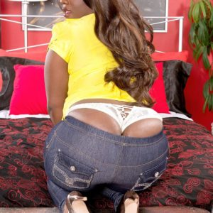 Black MILF Stacy Enjoy sports a whale tail while whipping out her huge bum from jeans in pumps