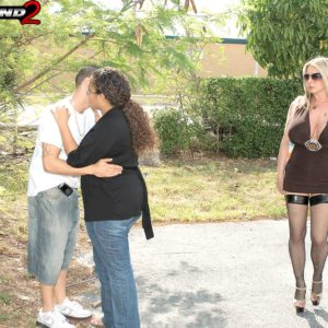 Horny blonde MILF Summer Sinn seduces a married guy with her enormous juggs in hosiery