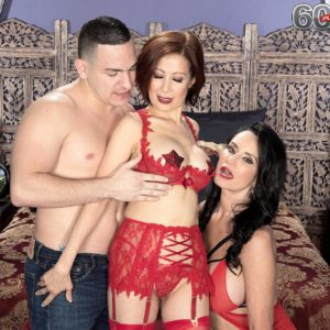 Seductive aged ladies Rita Daniels and Kim Anh have a threesome with junior stud