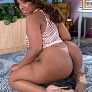 Black BIG HOT WOMAN Layla Monroe flaunts her huge bootie in see through sundress and thong undies