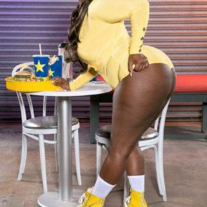 Black BIG SEXY LADY Stacy Enjoy flaunts her enormous derriere in bootie cut-offs and roller skates