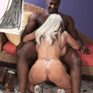 Buxom 60 plus adult video starlet Sally D'Angelo gets screwed by a junior black guy