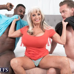 Mind-blowing 60 plus MILF Sally D'Angelo fellates on a BBC and a immense milky dick at the same time