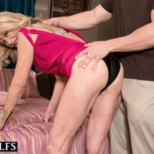 Older ash-blonde gal Kendall Rex shows her underwear while seducing her son-in-law