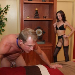 Skinny mistress Haily Youthful forces her sissy to his knees before attaching a purity device