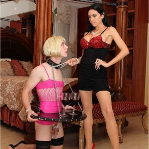 Spectacular black-haired Emmanuelle London puts her subby husband in a maid clothing