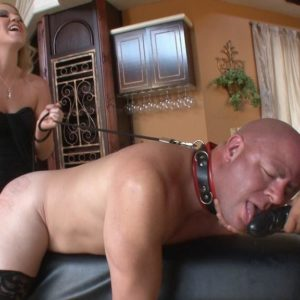 Sweet golden-haired mistress Ashley Edmunds makes her slave spouse blow her strap-on cock