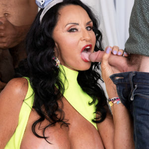 Buxom grannie Rita Daniels bj's on immense milky and ebony dicks for bday number Sixty-nine