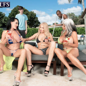 Grannie X-rated actress Rita Daniels and her girlfriends tempt the pool cleaning boys