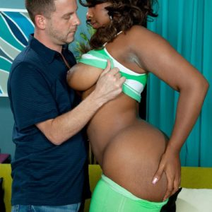Ebony MILF Layla Monroe exposes her huge black butt as her and a white dude undress