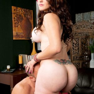Enormous breasted brunette Carmen Ross lets out her hefty bouncy booty before getting on top