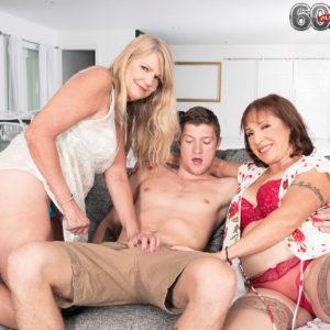 Grannie adult film star Luna Azul and a nan friend of hers de-robe and blow a junior dude