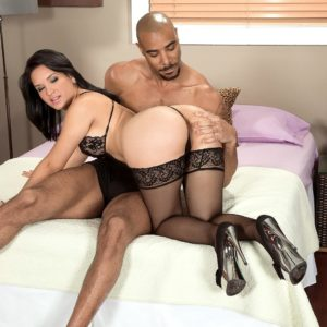 Killer MILF Cici Enjoy has her enormous buttocks took hold of by her black lover in pantyhose and high-heeled shoes
