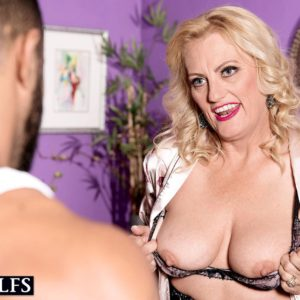 Cool senior light-haired Gal Dulbin seduces a younger man in a inviting lingerie ensemble