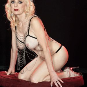 Experienced blond Cammille Austin wears nip clips while posing see-through lingerie