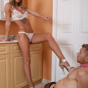 Gangly light-haired gf Alexia Jordon has her sub boy tongue her from behind