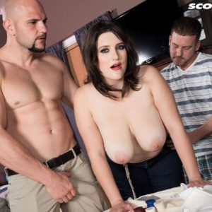 Hefty jugged female May West has her swell nipples sucked and enormous tush unveiled by 2 guys