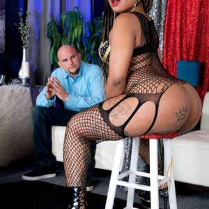 Inked ebony girl Diamond Monroe twerks her gigantic booty on a stool for a white dude