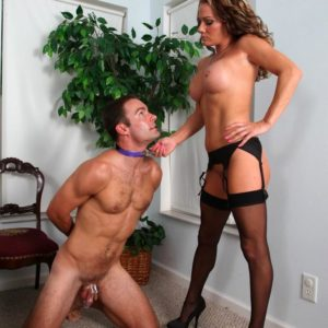 Submissive masculine is compelled to suck a dildo after sniffing Allura Sky's gash and backside