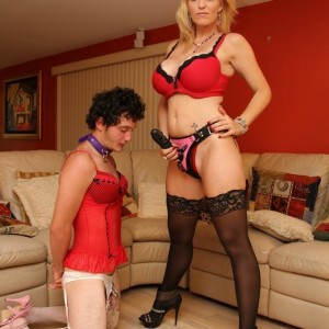 Beautiful wife Charlee Chase makes crossdressing sissy suck a strapon cock on his knees