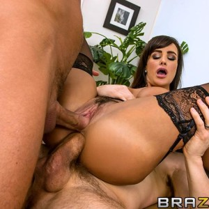 Famous XXX actress Lisa Ann gets double boned in tights and garters plus high-heeled shoes