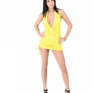 Dark haired beauty Foxxi Black strips to her heels before pleasuring her pussy