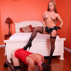 Ginger-haired gf Nikki Delano pounds her sissy guy in the derriere with a strapon penis in hose