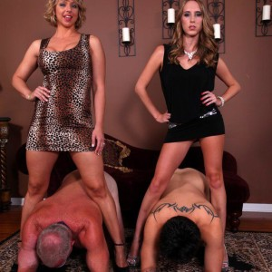Leggy ladies Cadence Lux and Brianna fuck slave men with strapon boners