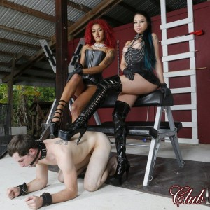 Authoritative type Daisy Ducati and her gf dominate a masculine submissive in heels