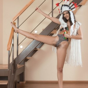 Barefoot European first timer Pavla parting wooly snatch wide open in costume play clothing