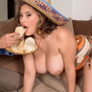 Big titted Latina fatty Selena Castro eating food while showing off fun bags