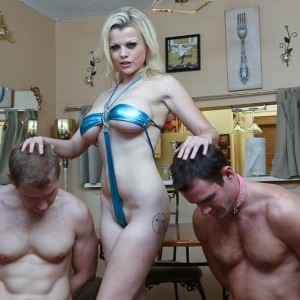 Blonde female Nadia White dominates two sissy guys that idolization her bare feet